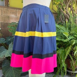 Eloquii Colorblock Pleated Full Skirt Navy Size 22